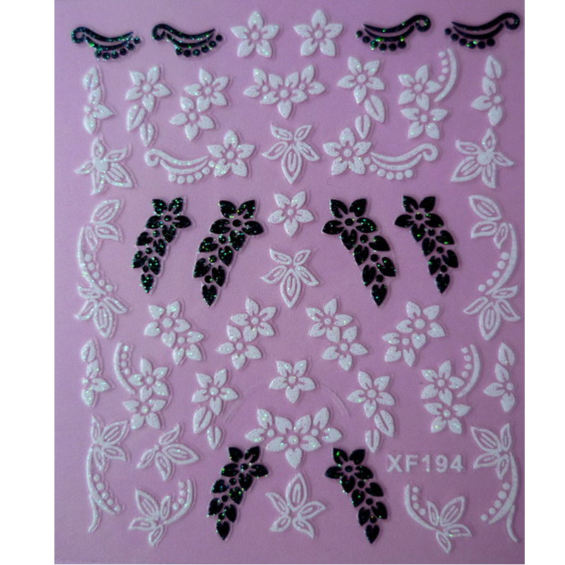 купить black 3D DIY flower design Water Transfer Nails Art Sticker decals lady women manicure tools Nail Wraps Decals XF194 онлайн