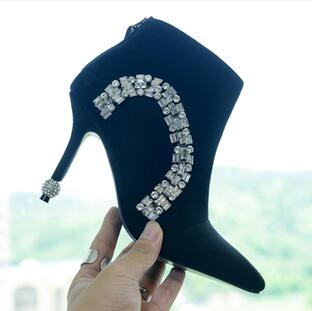 Фотография Rhinestone Ball Heels Pointy Toe Sexy Ankle Boots Black Suede Crystal Dress Shoes Pumps High Heels Cut-outs Fashion Boots Shoes