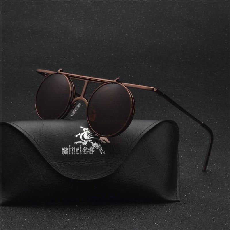 MINCL/ Small Round punk Sunglasses Men Women Flip Up lens Punk Sun Glasses for Male Vintage Goggles NX 1