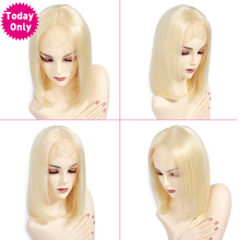 TODAY ONLY 613 Brazilian Straight Lace Front Wig Short Bob Lace Front Human Hair Wigs For Black 13x4 Blonde Human Hair Wig Remy стоимость