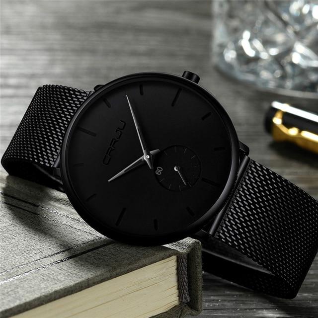 CRRJU 2150 modne zegarek meski Top marka casual Ultra cienka siatka ze stali nierdzewnej zegarek na rękę mężczyźni czarny sport wodoodporny zegarek kwarcowy zegar reloj
