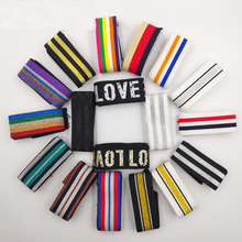 2M/lot 4cm Nylon Colorful Stripe Elastic Bands DIY Belt Ribbon Dress Pants Clothing Bags Rubber Webbing Garment Sewing Accessory