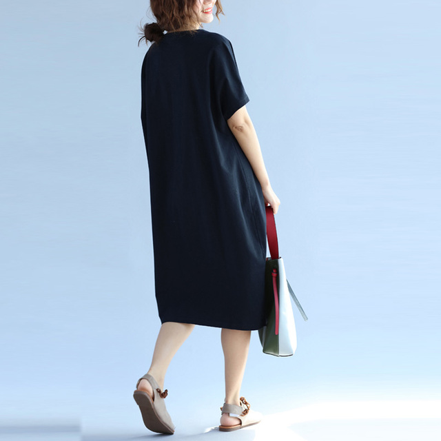 Women Chinese Embroidery Dress 2019 Summer Fashion Plus Size Midi Dress Female Short Sleeve Casual Loose Dresses Female 5XL 6XL