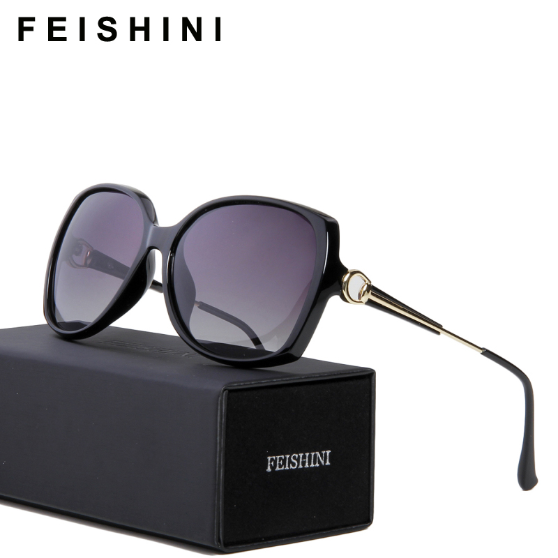 FEISHINI 2114 HD Anti Fatigue UV400 Safe Sun Glasses Ladies 2018 Sexiga Butterfly Solglasögon Women Polarized Vintage Luxury