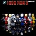 9 unids/lote Clásico jeysey minifig serie Bloques huecos de iron man ironman colección juguetes Figuras de acción car styling