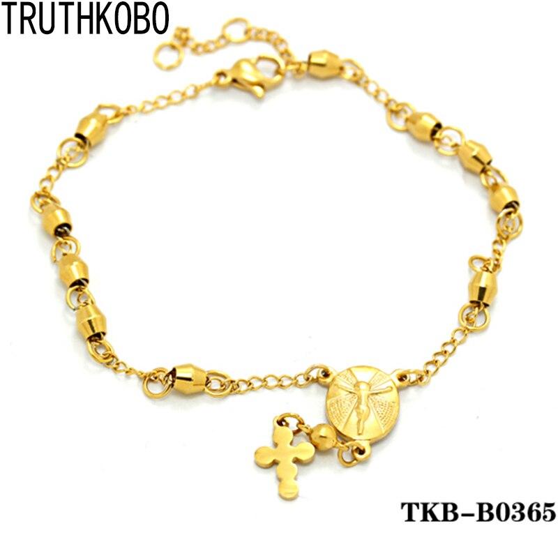 nouveau sommet nouveaux produits pour vraie affaire En Acier inoxydable Bracelet Or Jésus Chapelet Bracelet ...