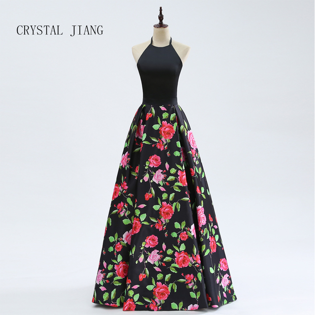 CRYSTAL JIANG 2018 New Arrival Sexy Formal Halter Black Satin A Line Floral Printed Evening Dresses Long Real Photo