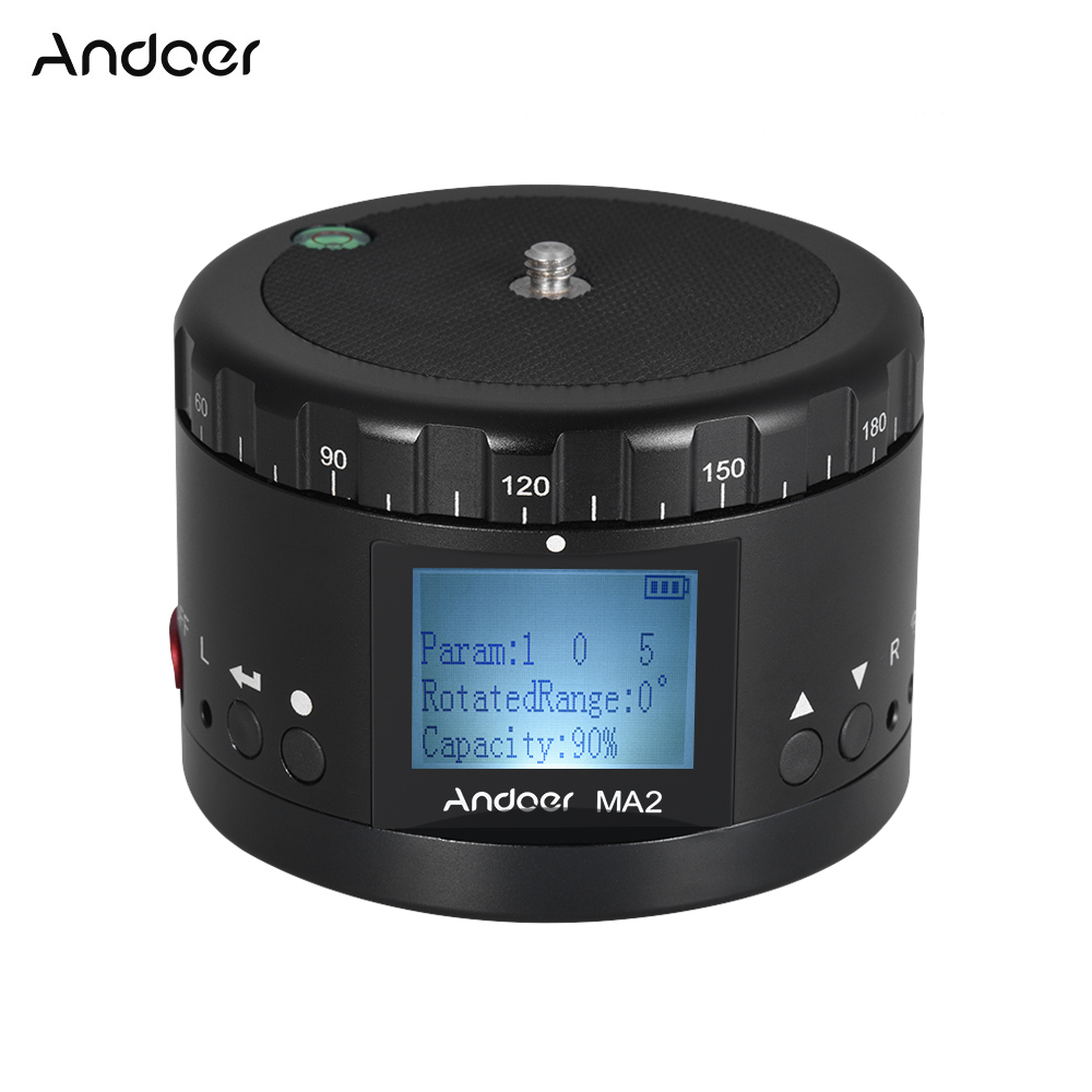Andoer MA2 Panoramic Tripod Head Motorized Ball Head w LCD Screen Built in Rechargeable Battery for