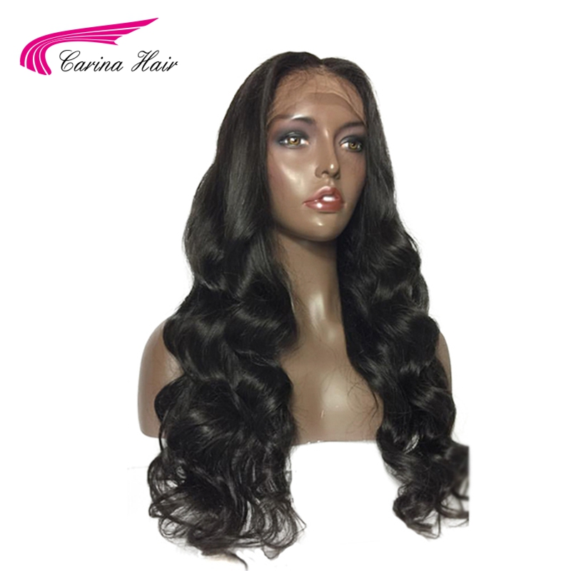 Carina Hair Natural Color Middle Part Silk Base Lace Front Wigs Pre-Plucked Hairline Brazilian Non-Remy Hair Wigs Body Wave