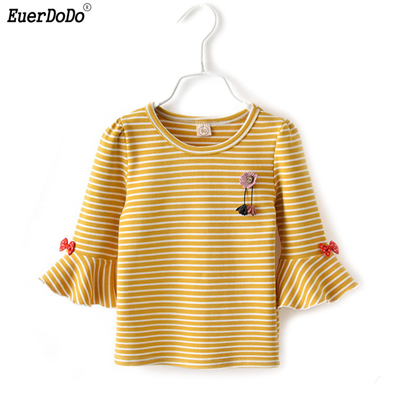T-Shirts Party-Clothing Girls Tops Long-Sleeve Autumn Baby-Girl Striped Children's