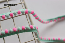 3yards/lot Pink Ball Trim 10mm Mini PomPom Lace Braid Fringe Ribbons Fabric DIY Sewing Handmade Accessory