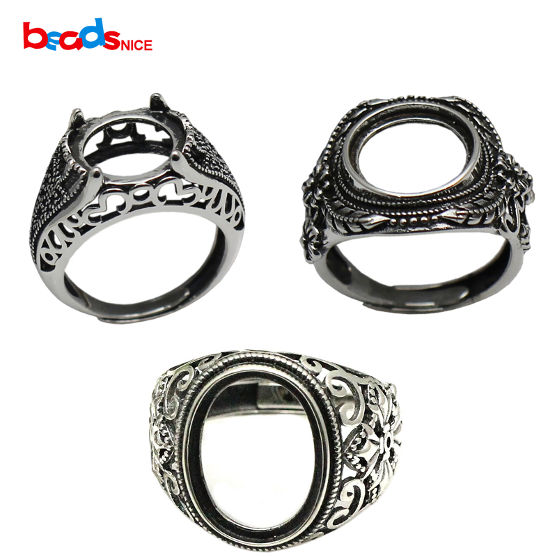 Thai Silver Ring 925 Sterling Silver Ring Cabochon Setting For 12mm Round Stone Vintage Ring Handmade Accessories ID 33759