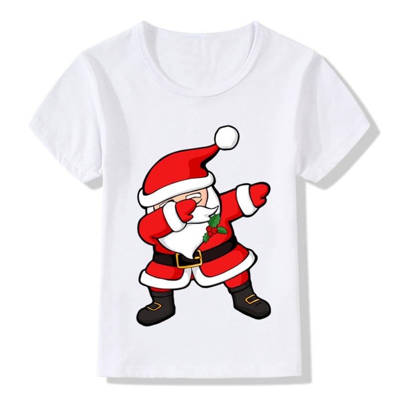 Children Fashion Cartoon Cute Dabbing Santa Design Funny T ...