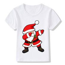 a3744fe7 Dabbing Santa Pattern Funny Children T shirt Kids Merry Christmas Cartoon  Clothes Baby Boys Girls Summer