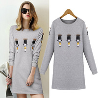 2016 Spring And Autumn Women New Long Section Loose Long Sleeved Dress Villain Pattern Printing Dress