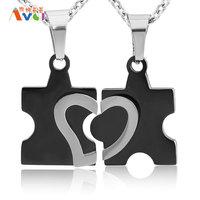 AMGJdk Wholesale Never Let Go Couple Pendant Necklaces Puzzle Heart Combination Titanium Steel Lovers Jewelry 2 Pieces A006