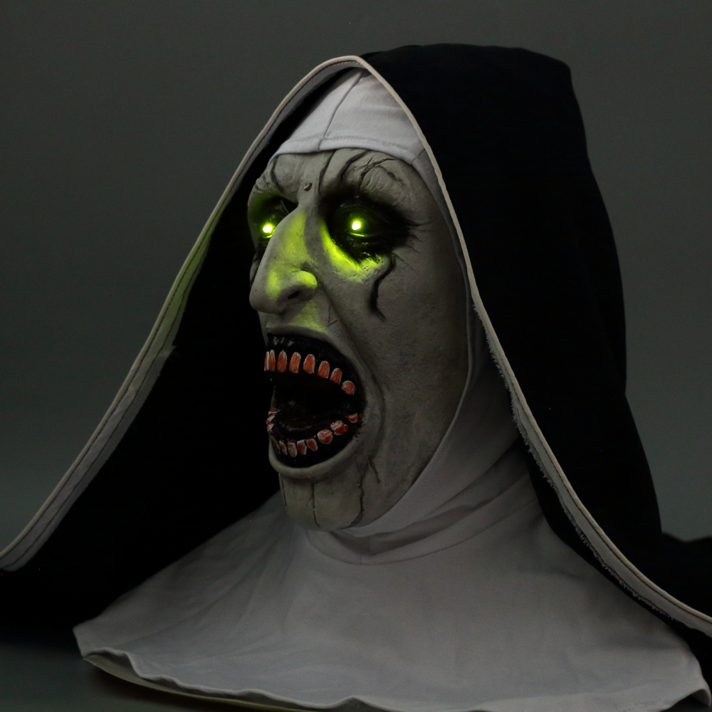 The Nun Mask Horror Mask With Scary Voice With Led light Cosplay Valak Latex Masks With Headscarf Helmet Halloween Party Props 2