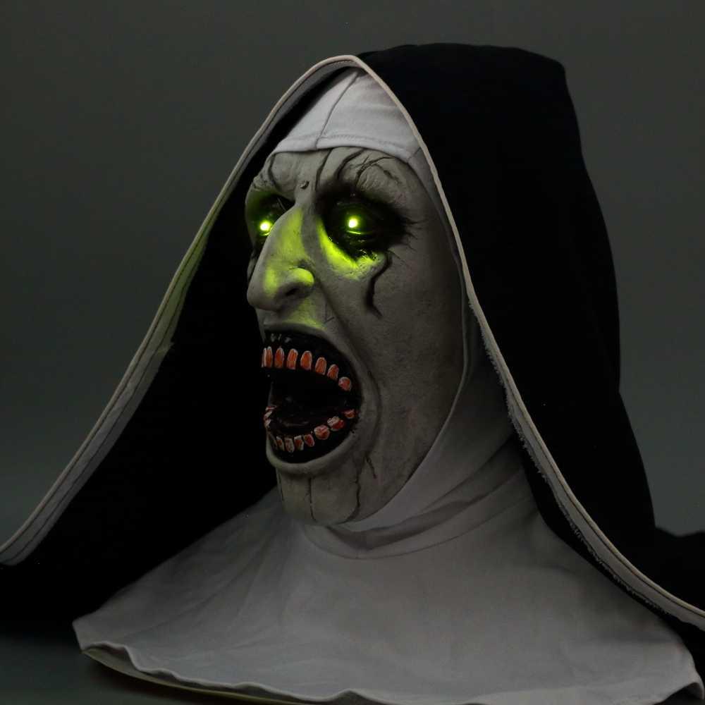 Le masque d'horreur de masque de nonne avec la voix effrayante avec la lumière LED Cosplay Valak masques de Latex avec le casque de foulard accessoires de fête d'halloween