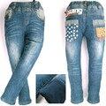 Inverno Calças Jeans, Kids Boy Slim velo de veludo letras estrela impresso crianças Quentes Esporte Corredores Skinny Calças Meggings MH0314