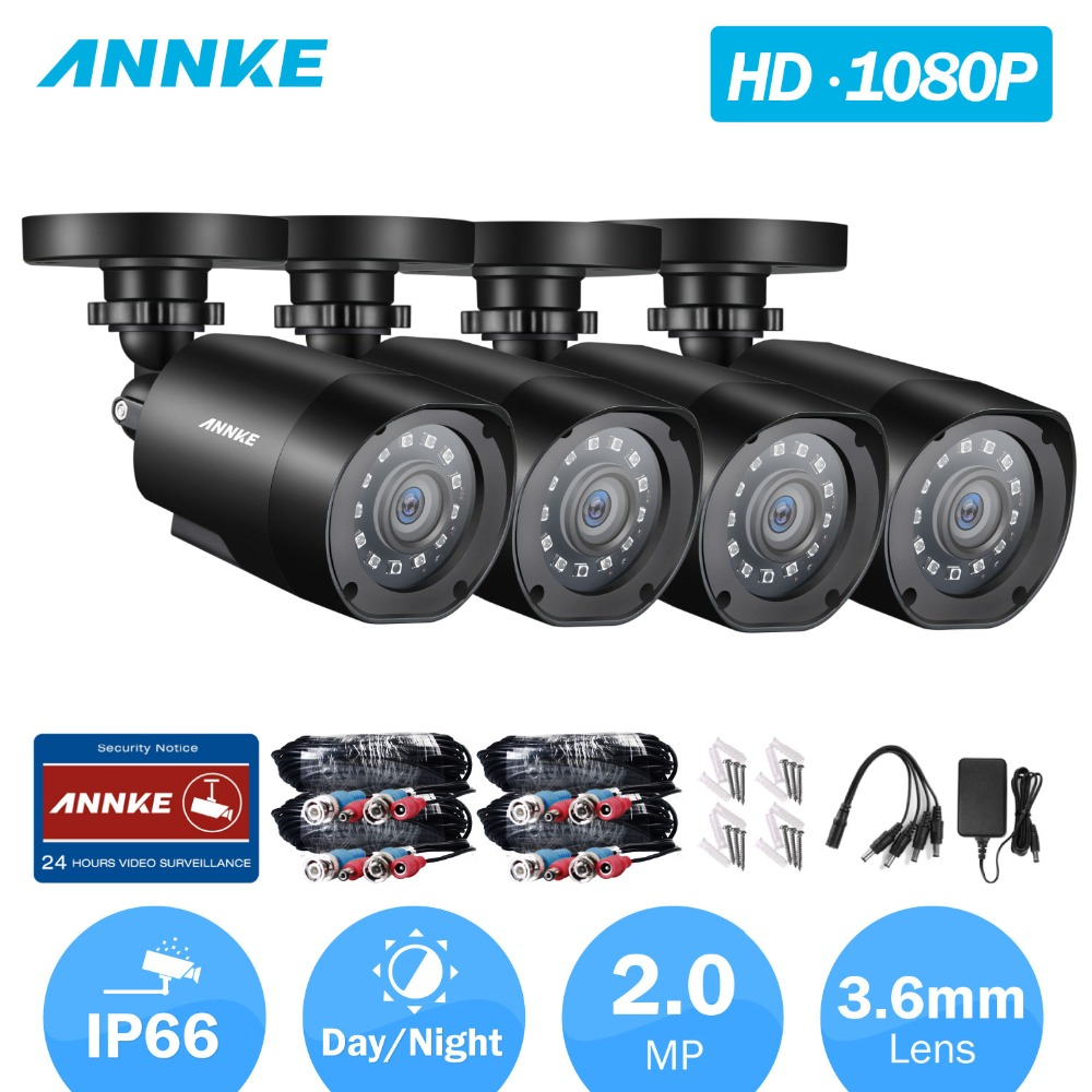 ANNKE 1080P TVI Security Camera 4pcs 2MP Bullet Kit Outdoor IP66 Weatherproof Housing 66ft Super Night Vision Smart IR CCTV Cam