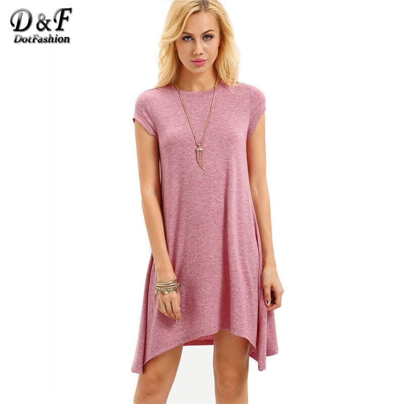 Dotfashion  Summer Pink Cap Manga Corta Asimétrica Vestido de Desgaste de Las Se