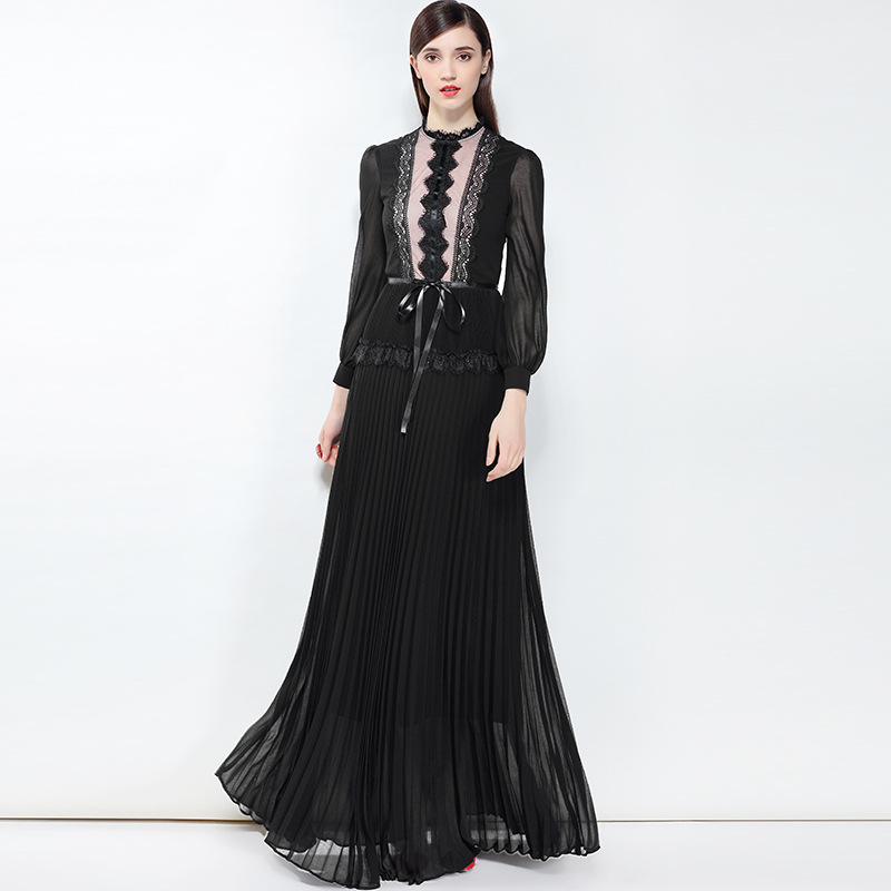 2019 spring/summer designer fashion runway Maxi dress Women long-sleeved lace Patchwork pleated vintage party long dress