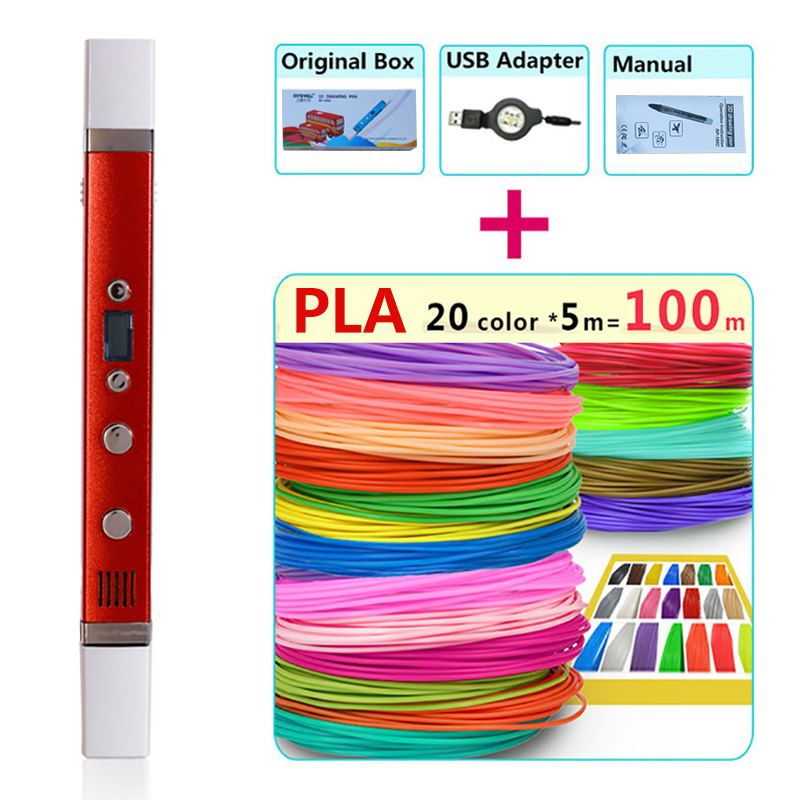 Myriwell 3 d pen 3d pens + 20 * 5m pla filament, Genuine High end 3d printed pen USB charging 1.75mm abs plastic the best gift myriwell 3d pens 20 10m abs filament 3 d pen 2017 smart 3d printed pen best gift for kids 3d print pen 3d model 1 75mm pla
