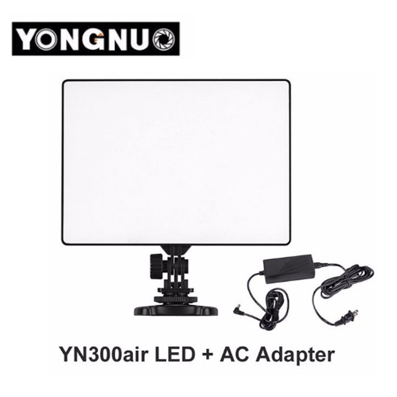 YONGNUO YN300 YN-300 Air LED Camera Video Light 3200K-5500K with AC Adapter for Canon Nikon Camera DSLR & Camcorder yongnuo yn300 air 3200k 5500k yn 300 air pro led camera video light with np f550 battery and charger for canon nikon
