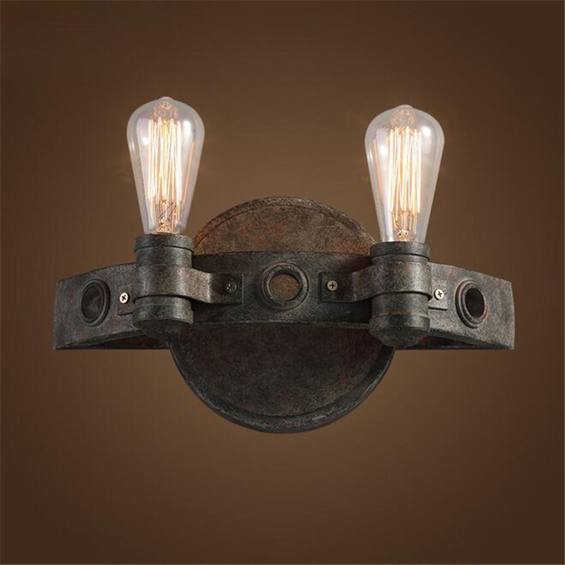 American Loft Wall Lamp Tow Heads Personalized Metal Vintage Bar Cafe Wall Lights Retro Edison Lamp E27 AC110V 220V loft vintage edison glass light ceiling lamp cafe dining bar club aisle t300