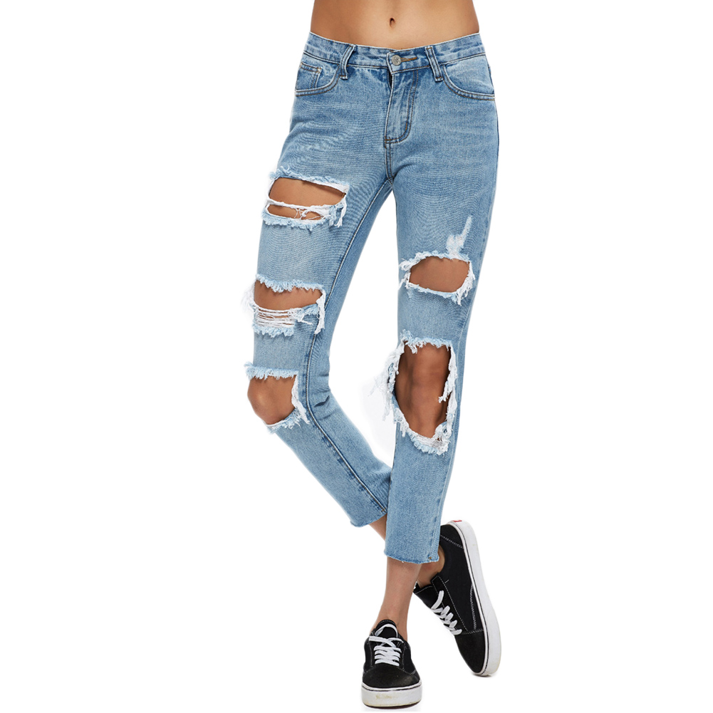 Online Get Cheap Destroyed Skinny Blue Jeans -Aliexpress.com ...