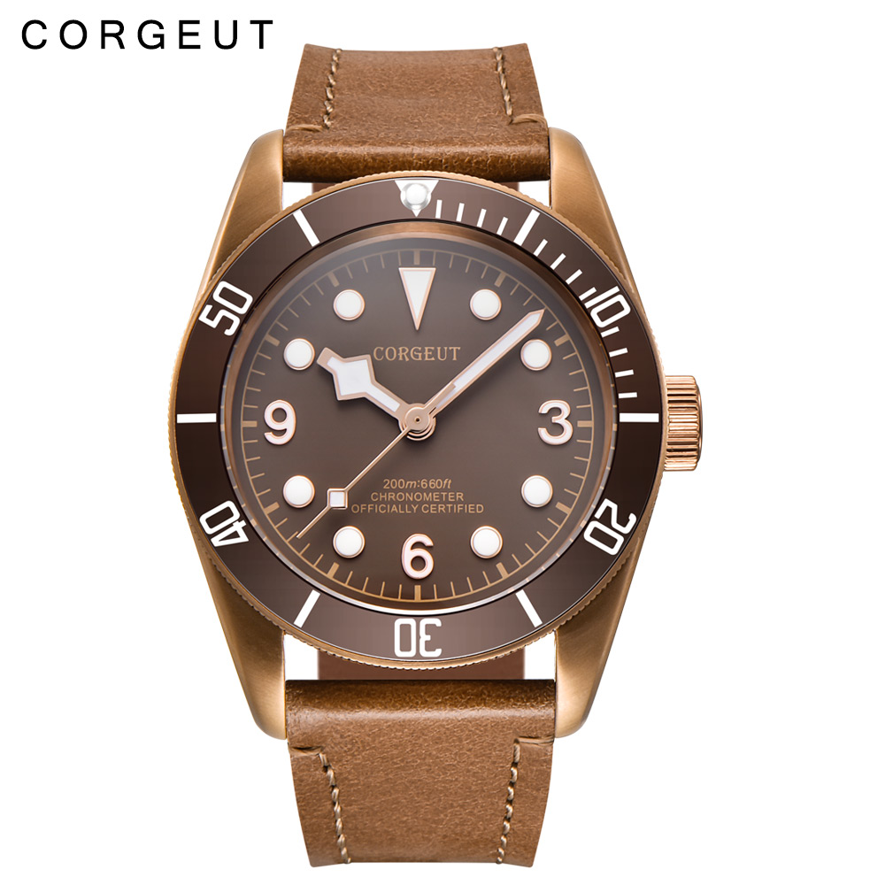 41mm Corgeut Sapphire Glass Sterile Coffee Dial PVD Miyota Automatic Mens Wrist Watch 41mm corgeut black dial sapphire glass 21 jewels miyota automatic mens watch c14