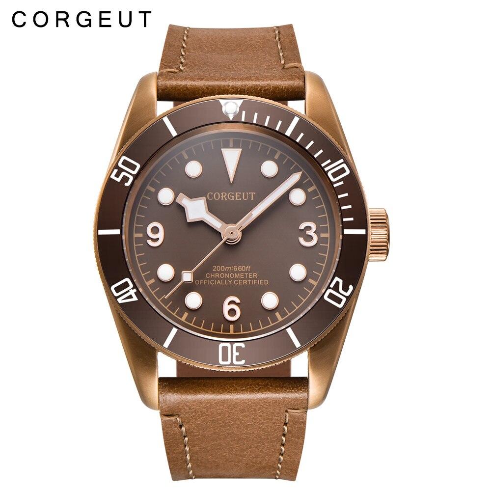 41mm Corgeut de luxe top marque sport Sapphire Verre Stérile Café Cadran PVD Mécanique Miyota horloge Automatique Mens Montre-Bracelet