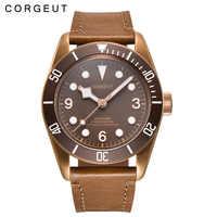 41mm Corgeut luxe top marque sport saphir verre stérile café cadran PVD mécanique mâle horloge automatique hommes montre-bracelet