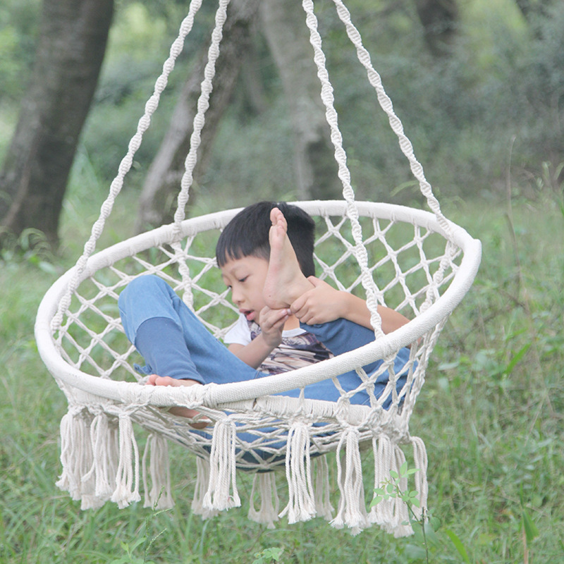 100% Cotton High Quality Beige Hanging Cotton Rope Macrame Hammock Chair 1