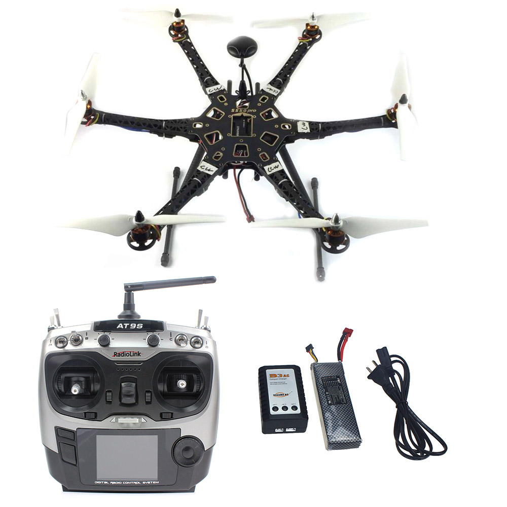 Assembled HMF S550 F550 Upgrade RTF Kit with Landing Gear & APM 2.8 Flight Controller GPS Compass AT9S TX RX No Gimbal F08618-N f08618 hmf s550 f550 upgrade hexacopter frame kit with landing gear for fpv