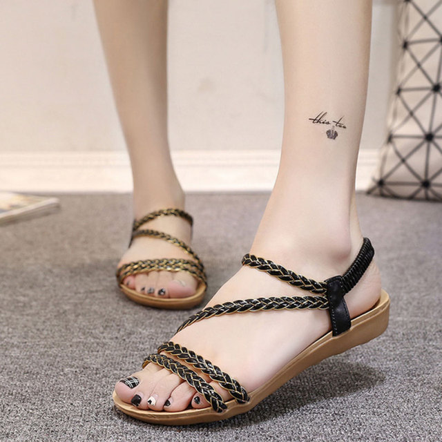 HEE GRAND Sweet Waving Women's Sandals for Sale Bohemia Style Summer Beach Flat Shoes Elastic Band Leisure Shoes Woman XWZ3324