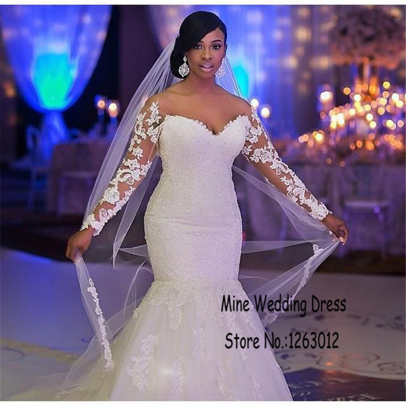 luxury lace applique sweetheart off the shoulder long sleeves