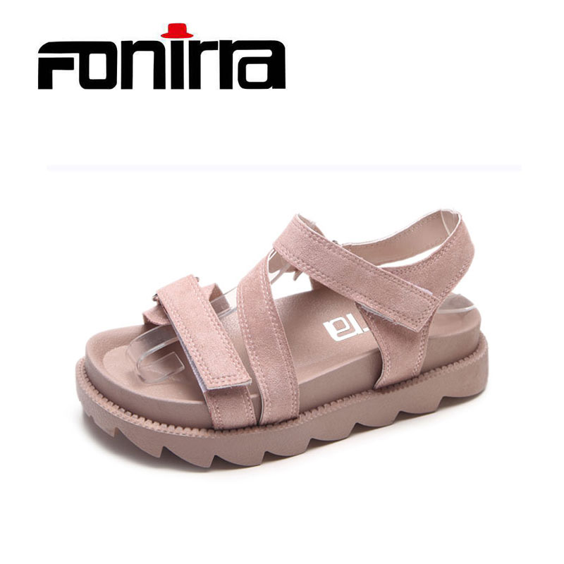 Summer Casual Women Sandals Pink Sweet Platform Casual Sandals Side Hook Loop Women Shoes With Skirt Girls Sandals FONIRRA 184