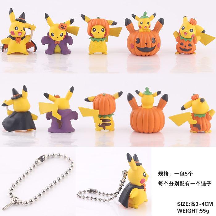 Halloween Pumpkin Pikachu Mini PVC Figures Pendant Toys Keychains 5pcs/set 4cm sonny angel mini figures easter series 6pcs set toys christmas