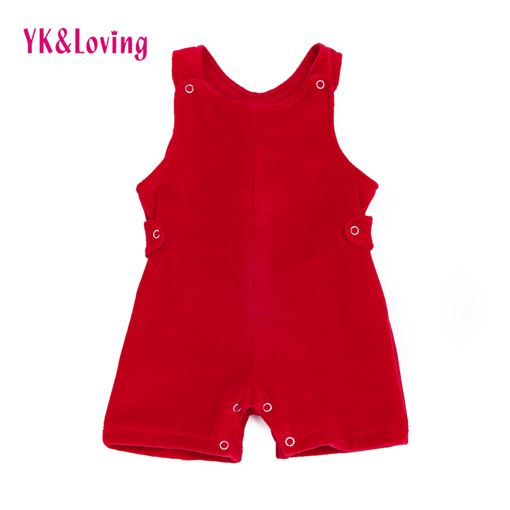 Winter/Autumn Baby Overalls Red Rompers Girls Boys 3-24 Month Solid Coral velvet Clothes Jumpsuit Newborn infant Kids Pant