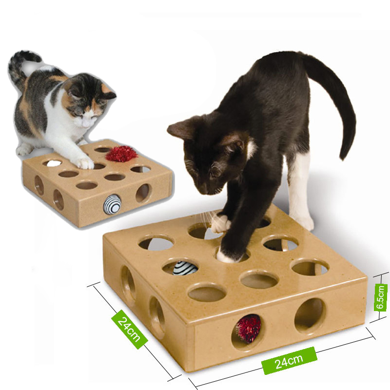 Pet Supplies Interactive Puzzle Play Toy Box Cats Hide Seek Box Scratching Toy Funny Platform Kitty Puzzle Toys With Ball