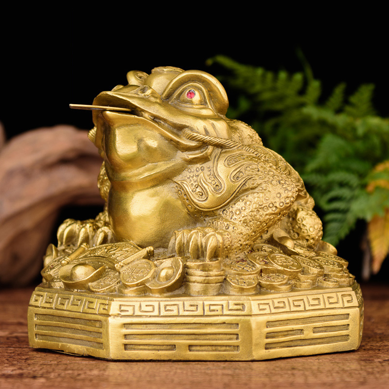 Brass Feng Shui Money Frog (Three Legged Wealth or Toad) Statue,Feng Decor