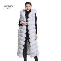 Huanhou queen 2018 real nature fox fur vest,120 cm length with hood fashion slim fox fur vest.