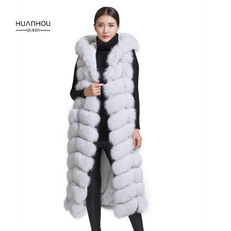 Huanhou reine 2018 réel nature fourrure de renard gilet, 110 cm longueur avec capot de mode mince fourrure de renard gilet.