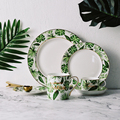 Красота Золотой Европейский стиль зеленые растения узор керамическая посуда фарфоровая посуда набор костяного фарфора тарелка кружка чаш...