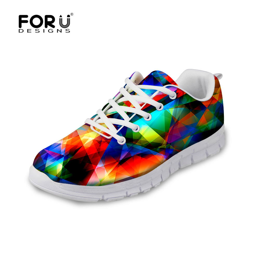 FORUDESIGNS Women Casual Flats Geometric Rainbow 3D Print Ladies Girls Autumn Lace-up Sneakers Breathable Zapatos for Woman 2018