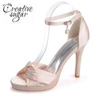 Creativesugar miękka satyna crossed zespół sandały pasek kostki obcasy platformy lato satynowa sukienka buty szampana srebrny różowy biały