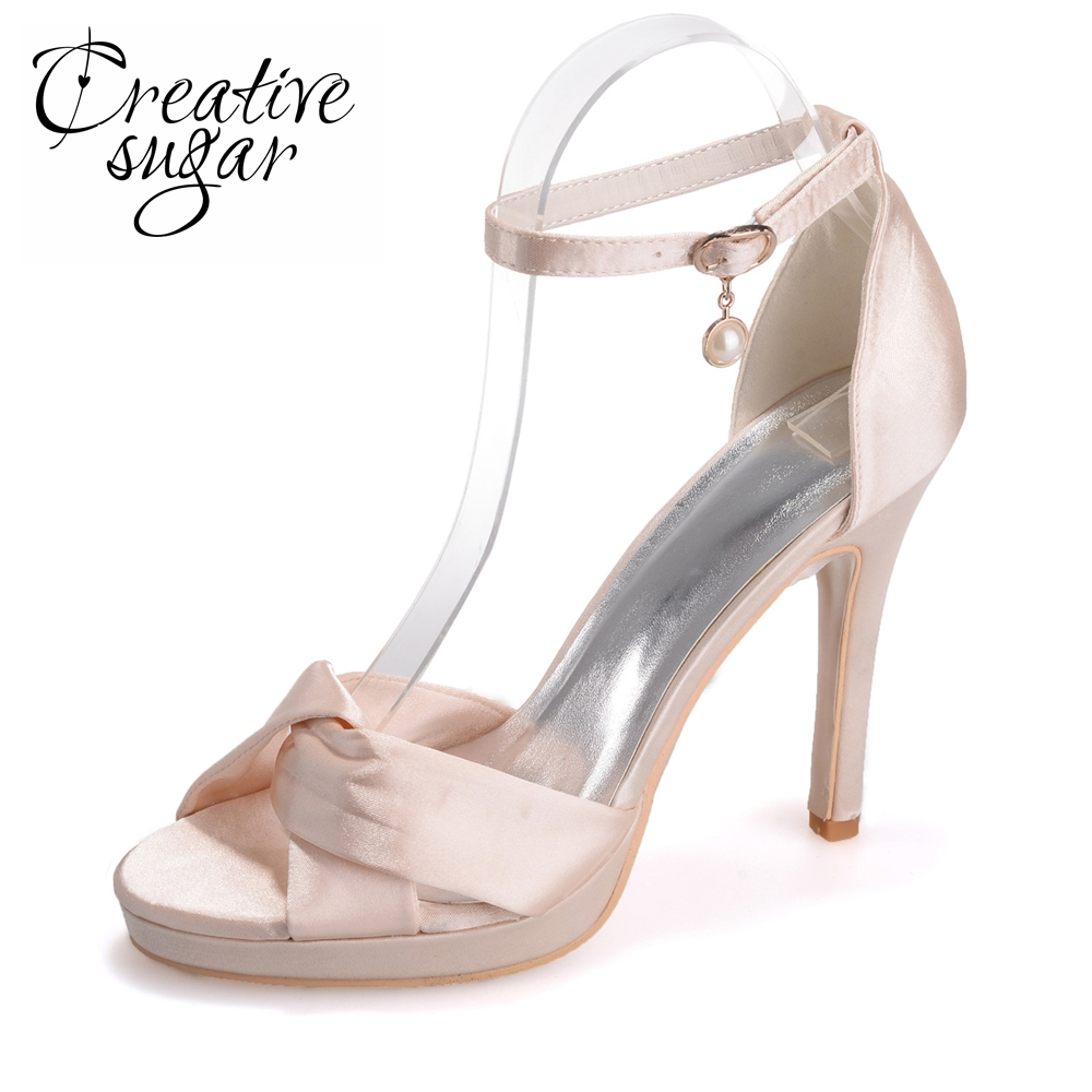 Creativesugar soft satin crossed band sandals ankle strap heels platform summer satin dress shoes champagne silver pink white