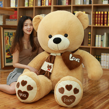 High quality 80/100CM 4 color teddy bear with scarf plush stuffed plush toy di bear couple birthday gift baby gift festival цена
