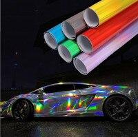 HOHO Premium Multi color Chrome Holographic Vinyl Wrap Rainbow Laser Vinyl Film Bubble Free Car Sticker 1.49m x 2m